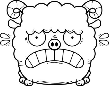 A cartoon illustration of a ram looking scared. Çizim