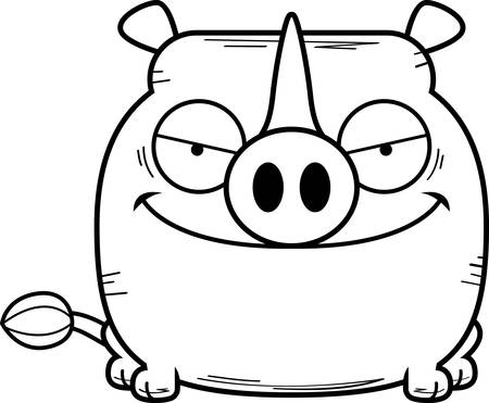 A cartoon illustration of a little rhinoceros with a devious expression.
