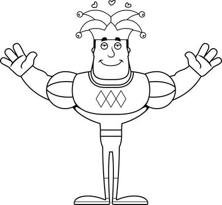 A cartoon jester ready to give a hug. Reklamní fotografie - 102190204