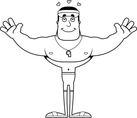 A cartoon lifeguard ready to give a hug.  イラスト・ベクター素材