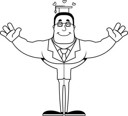 A cartoon teacher ready to give a hug.