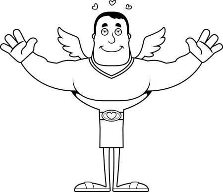 A cartoon cupid ready to give a hug.