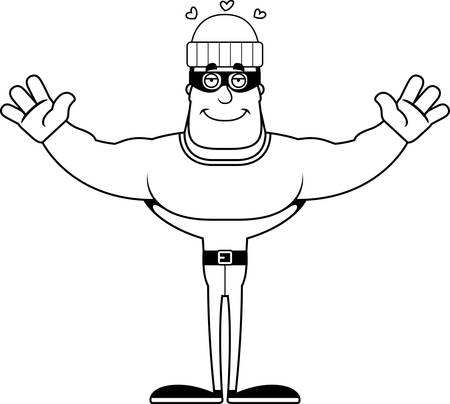 A cartoon thief ready to give a hug. 일러스트