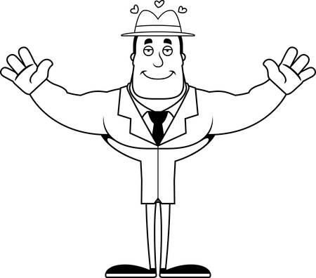 A cartoon detective ready to give a hug. Illustration
