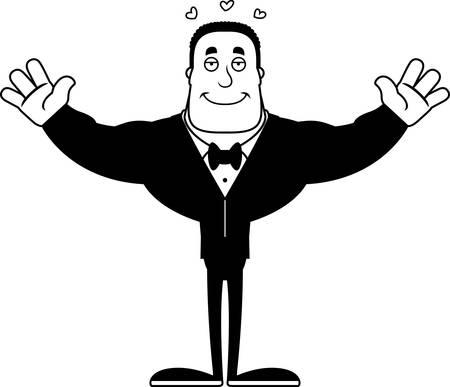 A cartoon groom ready to give a hug.