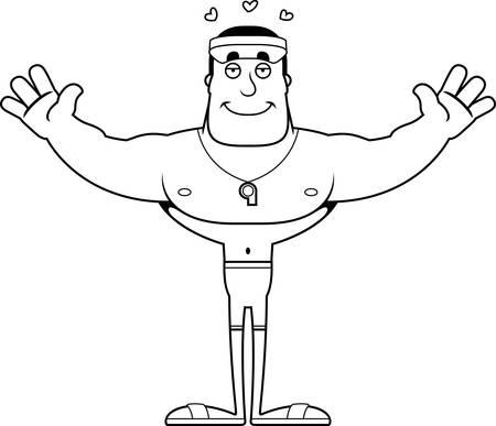 A cartoon lifeguard ready to give a hug. Illustration