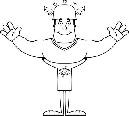 A cartoon Hermes ready to give a hug. Illustration