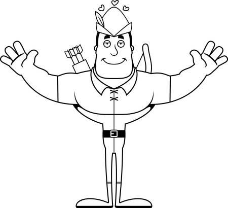 A cartoon Robin Hood ready to give a hug.