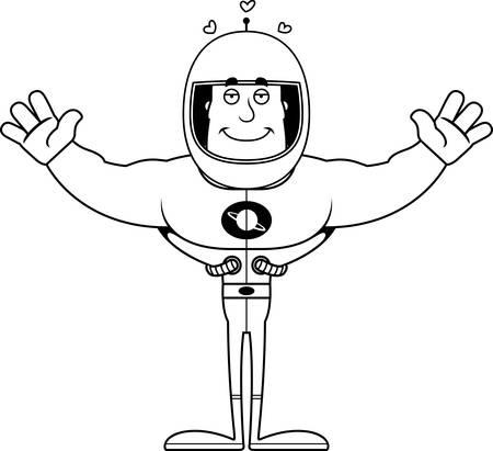 Un astronaute de dessin animé prêt à donner un câlin.