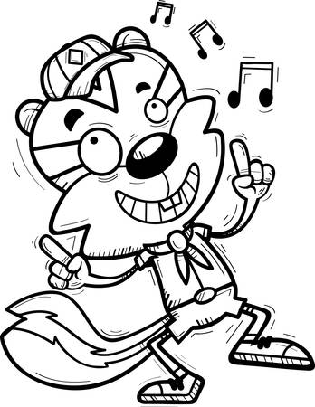 A cartoon illustration of a male chipmunk scout dancing.