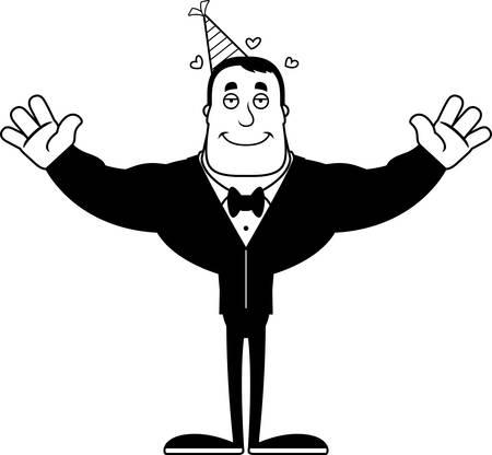 A cartoon partygoer ready to give a hug. 向量圖像