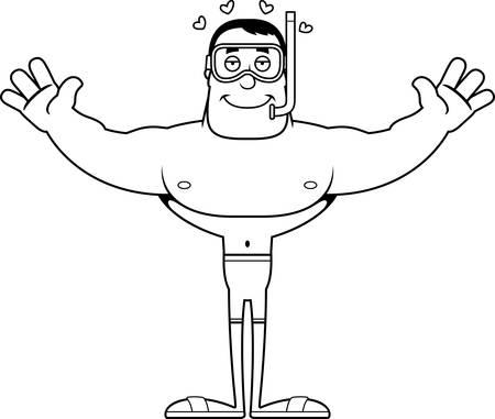 A cartoon snorkeler ready to give a hug.