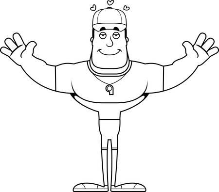 A cartoon coach ready to give a hug.