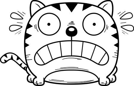A cartoon illustration of a cat looking terrified.