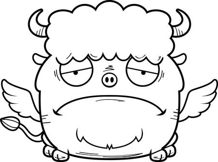 A cartoon illustration of a buffalo with wings looking sad.