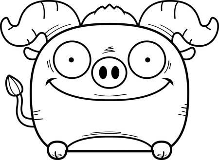 A cartoon illustration of a little blue ox peeking over an object.