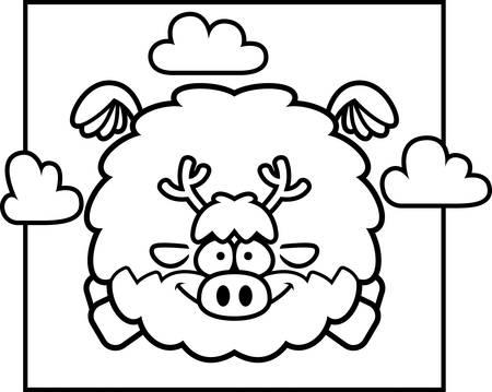 A cartoon illustration of a reindeer flying in the sky. Illusztráció