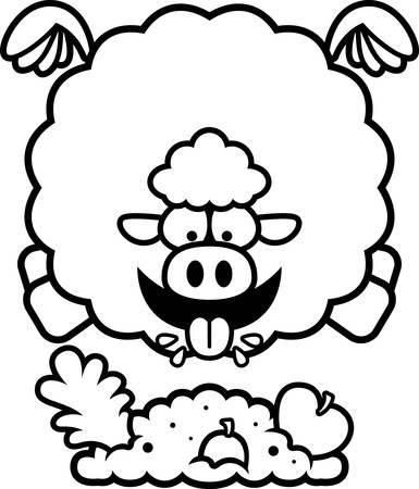 A cartoon illustration of a sheep eating.