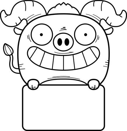 A cartoon illustration of a little blue ox with a white sign. Illustration