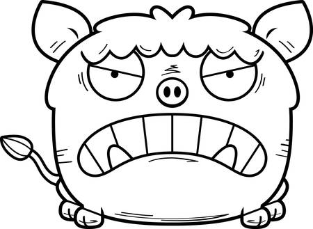 A cartoon illustration of a boar looking angry.