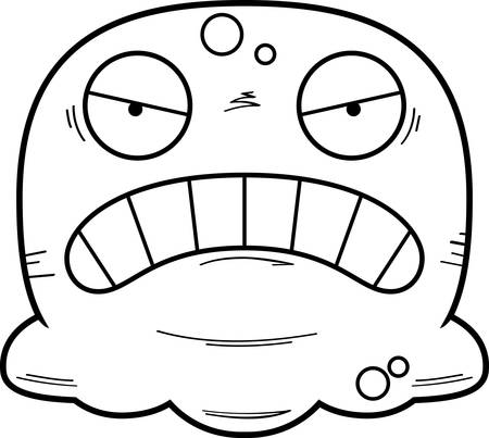 A cartoon illustration of a booger looking angry. Standard-Bild - 102190732