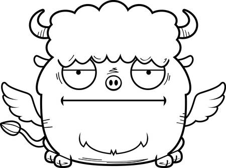 A cartoon illustration of a buffalo with wings looking bored.