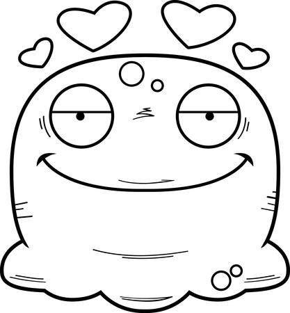 A cartoon illustration of a booger in love. Standard-Bild - 102190744