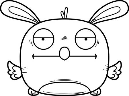A cartoon illustration of an Easter bunny chick looking bored.