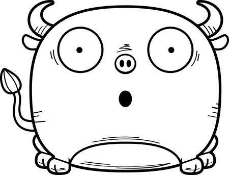 A cartoon illustration of a little bull looking surprised.