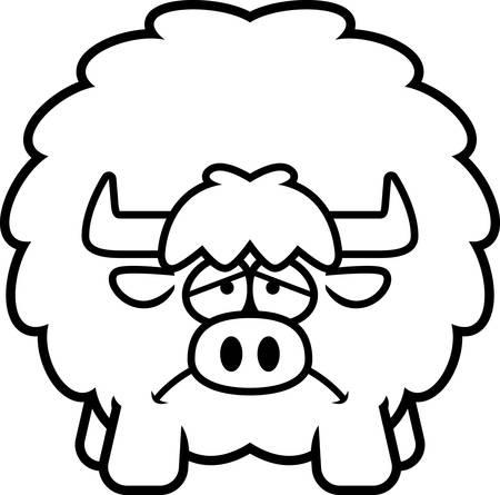 A cartoon illustration of a yak looking sad.