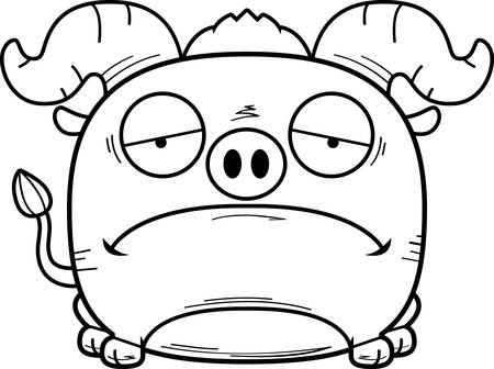 A cartoon illustration of a little blue ox with a sad expression.