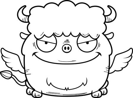 A cartoon illustration of an evil looking buffalo with wings.