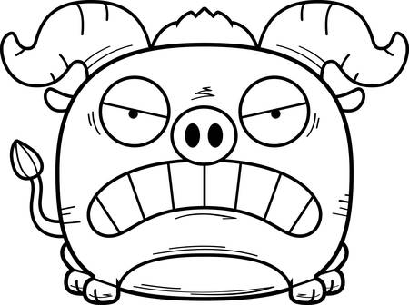 A cartoon illustration of a little blue ox with an angry expression.
