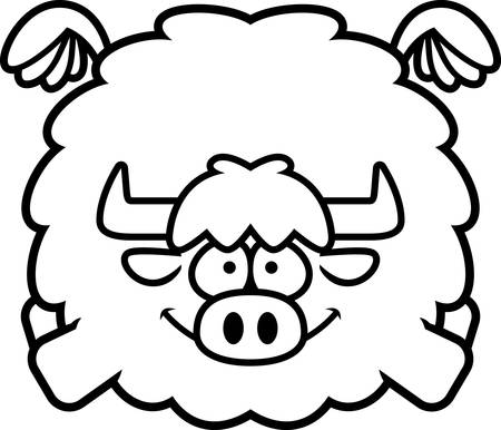 A cartoon illustration of a yak flying.