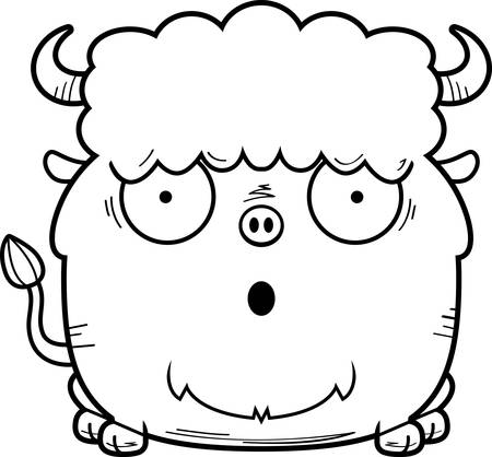 A cartoon illustration of a bison looking surprised.
