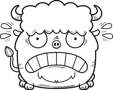 A cartoon illustration of a bison looking scared. Illustration