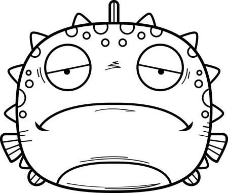 A cartoon illustration of a blowfish looking sad.