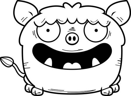 A cartoon illustration of a boar smiling.