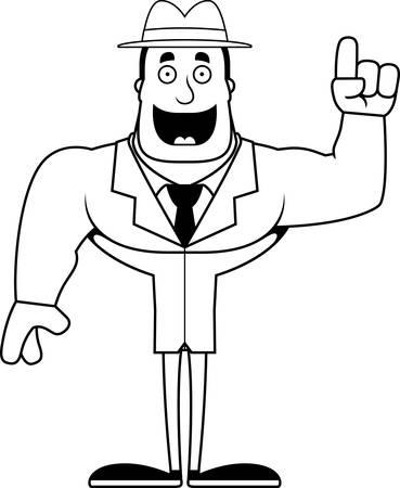 A cartoon detective with an idea.