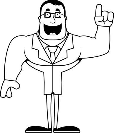 A cartoon scientist with an idea. Illusztráció