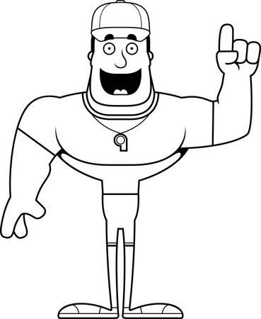 A cartoon coach with an idea.