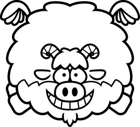 A cartoon illustration of a goat flying. Illusztráció