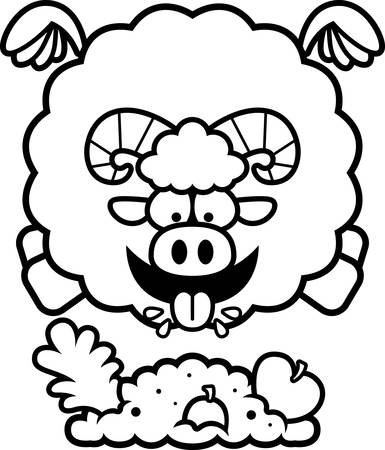 A cartoon illustration of a ram eating.