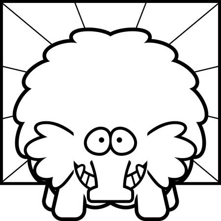 A cartoon illustration of a woolly mammoth looking happy.