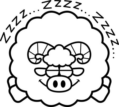 A cartoon illustration of a ram sleeping.