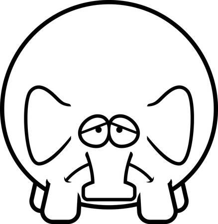 A cartoon illustration of an elephant looking sad.