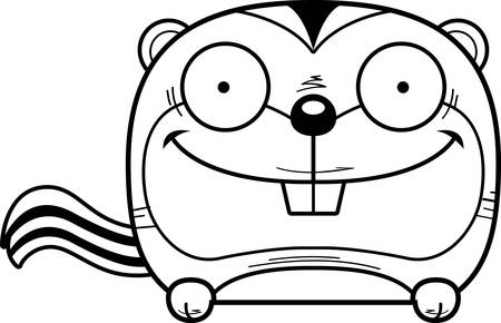 A cartoon illustration of a chipmunk peeking over an object.