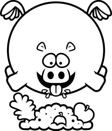 A cartoon illustration of a hippo eating. Illustration