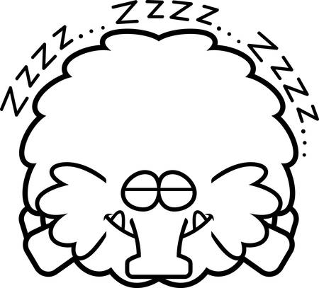 A cartoon illustration of a woolly mammoth sleeping.