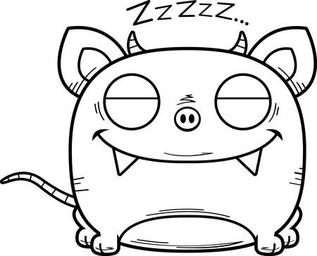 A cartoon illustration of a little chupacabra taking a nap. Illustration
